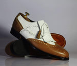 Bespoke White & Tan Wing Tip Brogue Leather Fringe Shoes for Men's