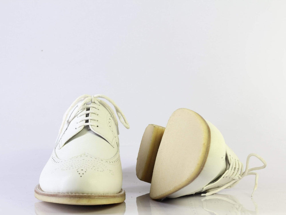 BESPOKESTORES dress shoes Bespoke White Wing Tip Brogue Crepe Sole Leather Shoes Men's
