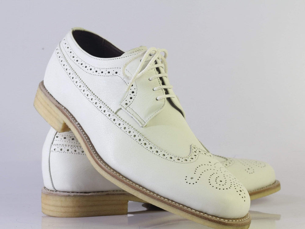 Bespoke White Wing Tip Brogue Crepe Sole Leather Shoes Men's
