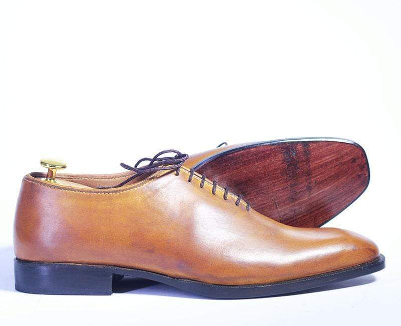 BESPOKESTORES dress shoes Bespoke Whole Cut Tan Oxford Leather Shoes for Men's