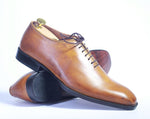 Bespoke Whole Cut Tan Oxford Leather Shoes for Men's