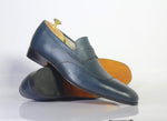 Bespoke Wing Tip Penny Leather Loafers for Men's