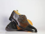 Black & Brown Leather Cap Toe Brogue Shoes for Men's