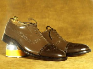 BESPOKESTORES dress shoes Brown Cap Toe Brogue Leather Lace Up Shoes, Men's Formal Dress Shoes