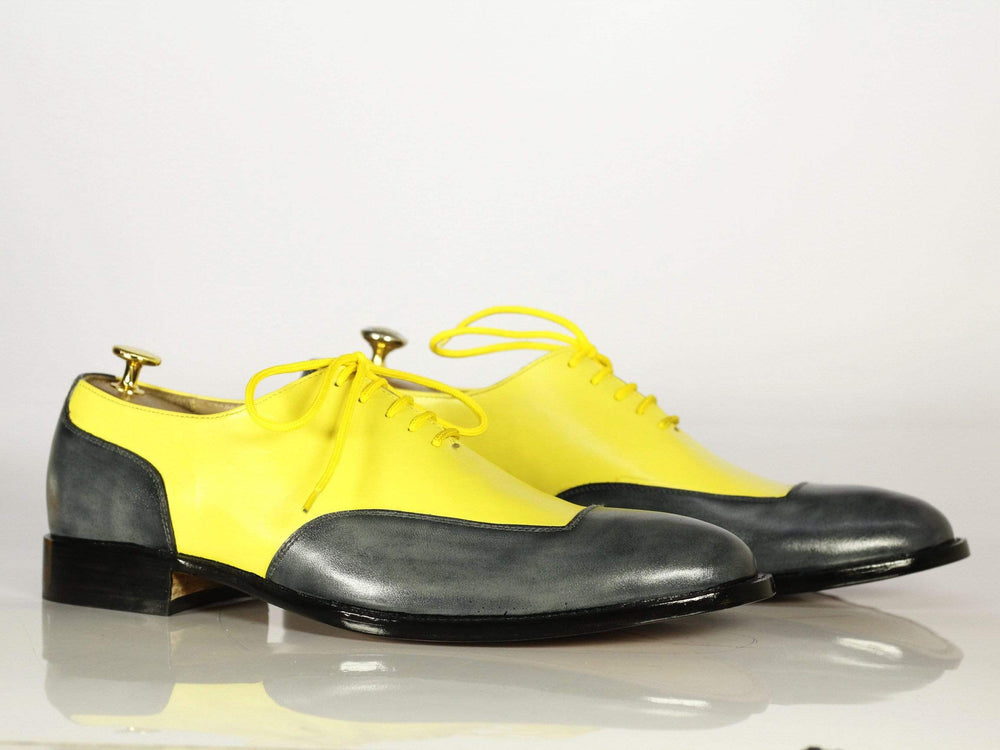 BESPOKESTORES dress shoes Classic Yellow & Grey Leather Dress Bespoke Two Tone Shoes for Men's