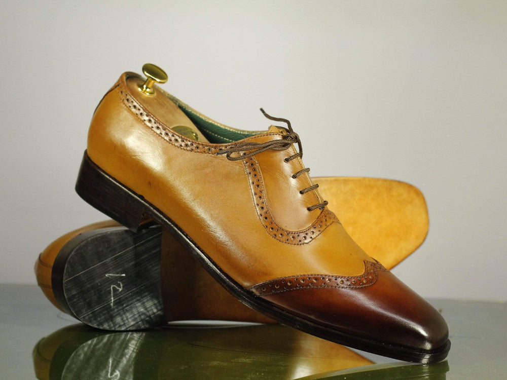BESPOKESTORES dress shoes Copy of Beautiful Black & Tan Leather Cap Toe Shoes for Men's