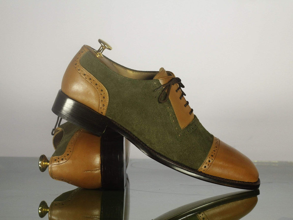 Beautiful Tan & Olive Green Suede & Leather Cap Toe Shoes for Men's