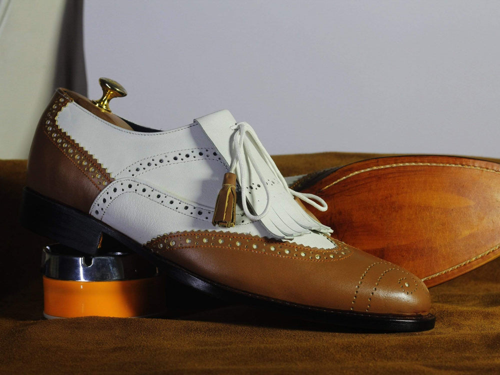 BESPOKESTORES dress shoes Copy of Bespoke Beige & Brown Wing Tip Leather & Suede Shoes for Men's