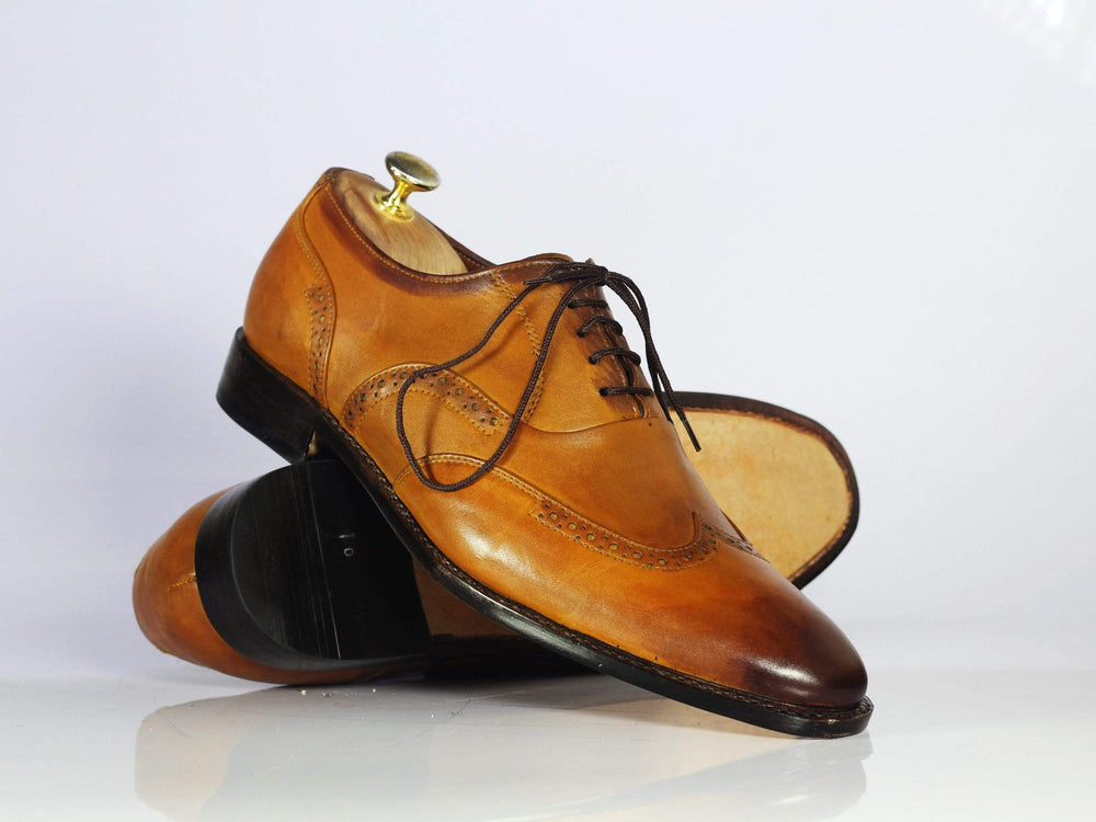 Bespoke Tan Wing Tip Leather Shoes for Men's