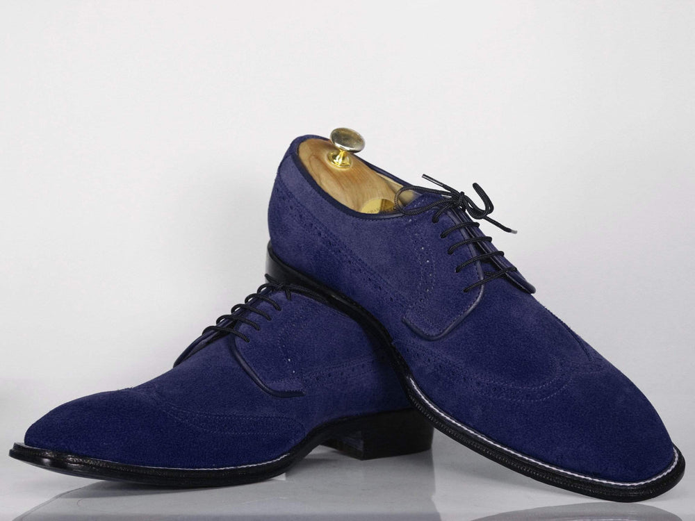 Beautiful Navy Wing Tip Suede Bespoke Shoes for Men's