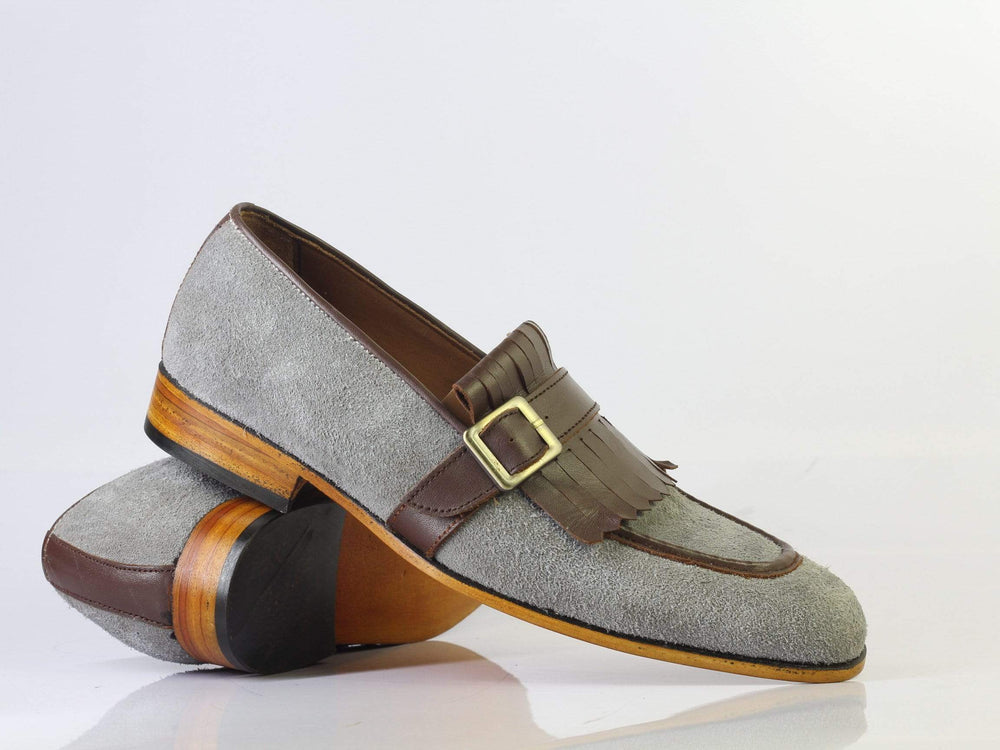 Bespoke Grey & Brown Buckle Leather Fringe Loafers for Men's