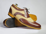 Bespoke Beige & Brown Wing Tip Leather & Suede Shoes for Men's