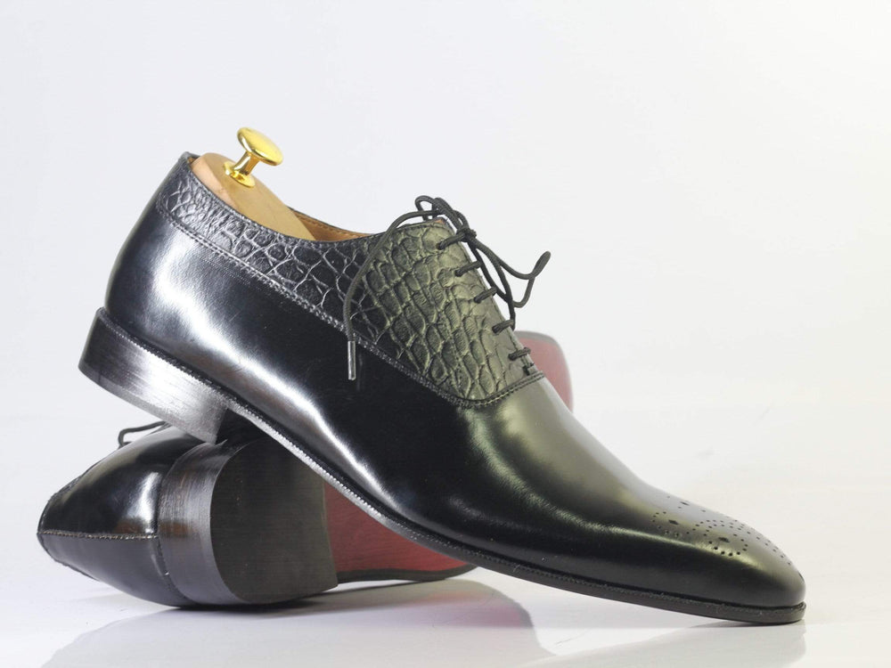 Bespoke Black Brogue Toe Crocodile Texture Leather Shoes Men's
