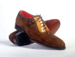 Bespoke Brown Cap Toe Lace Up Suede Shoes for Men's