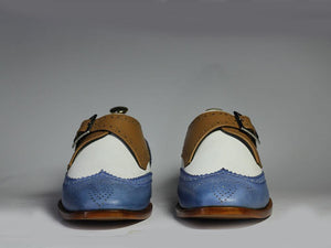 Bespoke Multi-Color Wing Tip Brogue Leather Monk Shoes for Men's