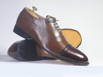 Bespoke Brown Cap Toe Brogue Leather Shoes for Men's