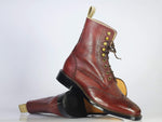 Bespoke Burgundy Wing Tip Brogue Leather Boots for Men's