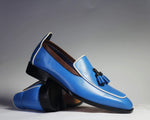 Bespoke Blue Tussle Leather Loafers for Men's
