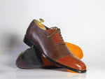 Bespoke Brown Leather Cap Toe Brogue Shoes for Men's
