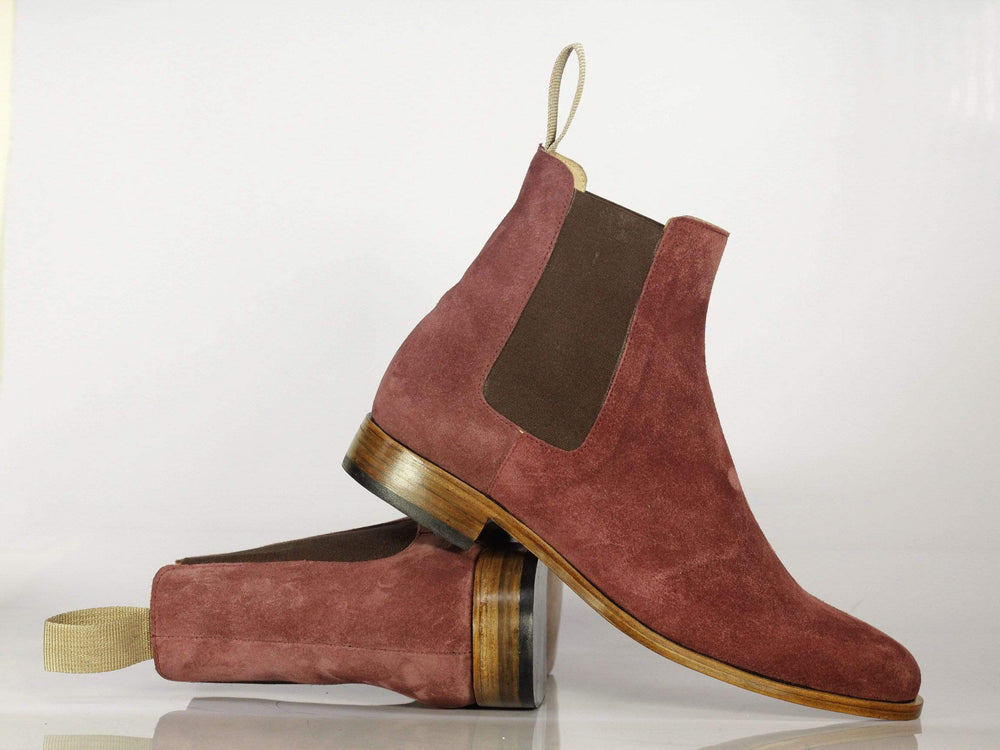 Elegant Burgundy Suede Chelsea Boots, Ankle High Slip On Boots for Men's