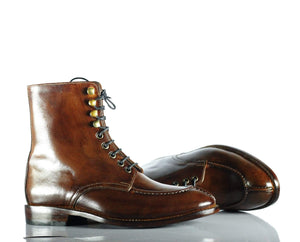 BESPOKESTORES dress shoes Copy of Handmade Beautiful Burgundy Leather Quad Monk Strap Long Boots for Men's