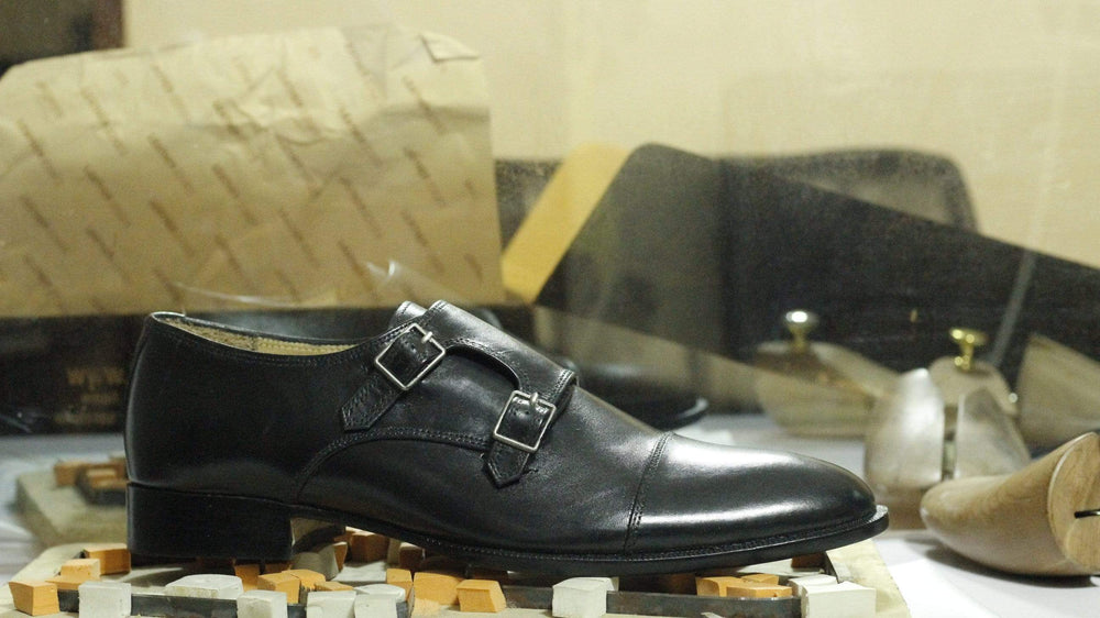 BESPOKESTORES dress shoes Double Monk Strap Cap Toe Black Leather Shoes