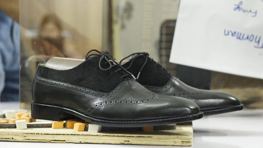 BESPOKESTORES dress shoes Hand Panted Black Wing Tip Leather & Suede Lace Up Men's Shoes