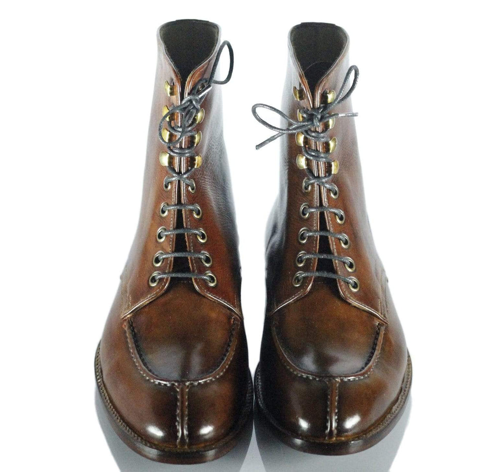 BESPOKESTORES dress shoes Handmade Beautiful Brown Leather Split Toe Long Boots for Men's