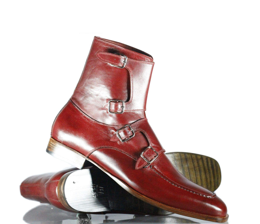 Handmade Beautiful Burgundy Leather Quad Monk Strap Long Boots for Men's