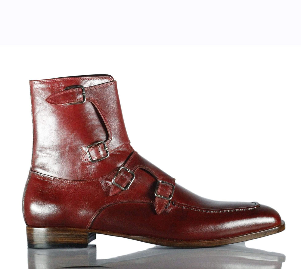 BESPOKESTORES dress shoes Handmade Beautiful Burgundy Leather Quad Monk Strap Long Boots for Men's