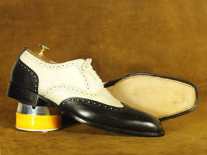 BESPOKESTORES dress shoes Handmade Black & Off White Leather & Suede Wing Tip Shoes, Men's Formal Dress Shoes
