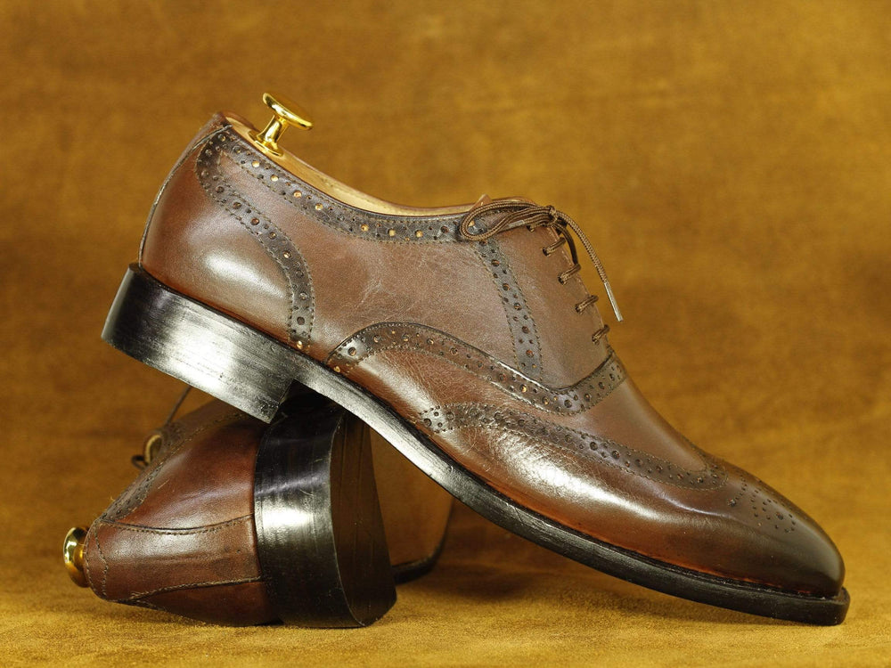 BESPOKESTORES dress shoes Handmade Brown Lace Up Wing Tip Brogue Leather Shoes, Men's Formal Dress Shoes