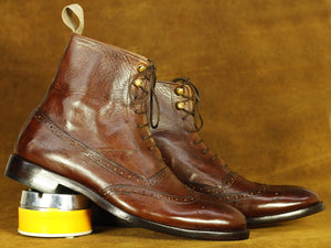 BESPOKESTORES dress shoes Handmade Brown Wing Tip Brogue Ankle High Leather Boot, Men's Oxford Boot