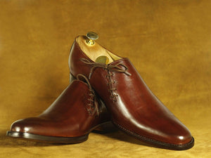 BESPOKESTORES dress shoes Handmade Burgundy Leather Side Lace Up Shoes, Men's Formal Dress Shoes