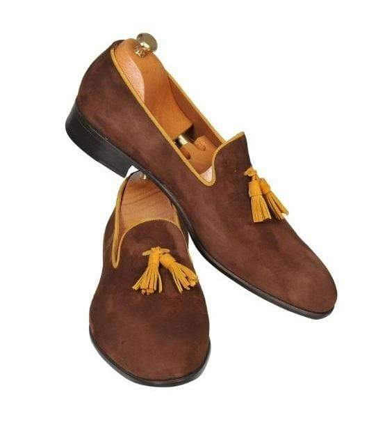 Handmade men brown shoes, leather moccasin loafer shoes, men suede dress shoes