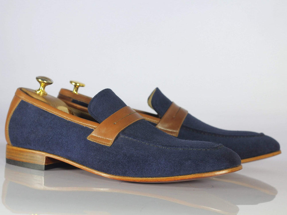 BESPOKESTORES dress shoes Handmade Men's Leather & Suede Slippers, Brown & Navy Round Toe Dress Slip On Loafers