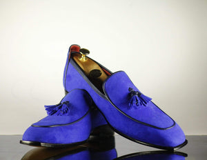 BESPOKESTORES dress shoes Handmade Men's Royal Blue Suede Slip On Dress Tussles Loafers