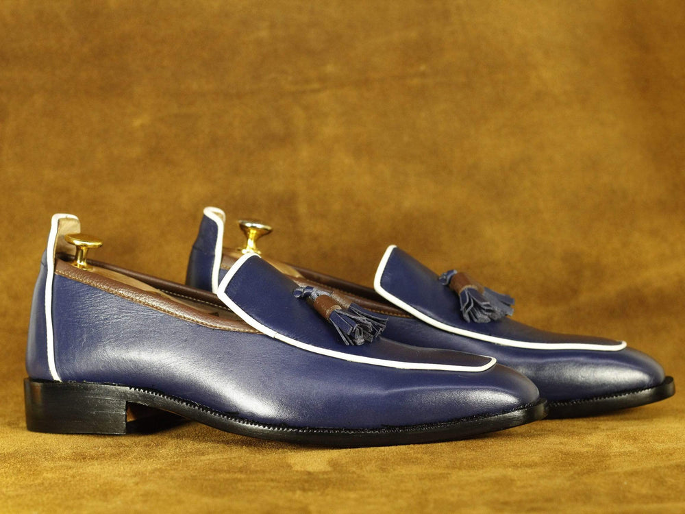 BESPOKESTORES dress shoes Handmade Navy Blue & White Round Toe Tussle Loafers, Men's Oxford Loafers