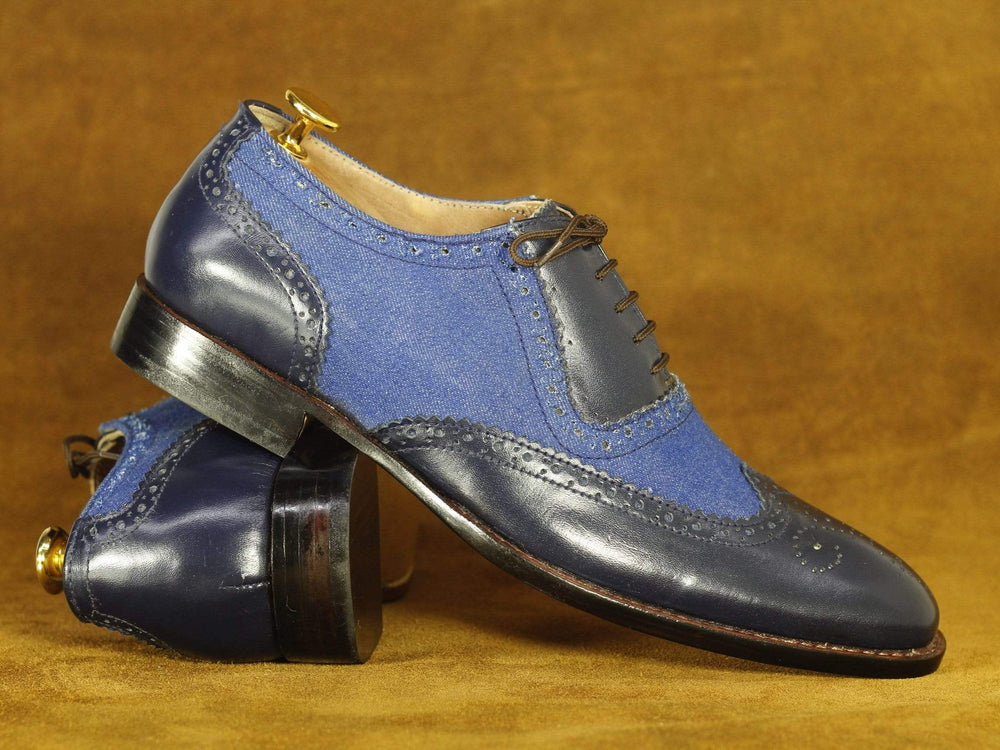 BESPOKESTORES dress shoes Handmade Navy Blue Wing Tip Brogue Leather & Denim Shoes, Men's Formal Dress Shoes