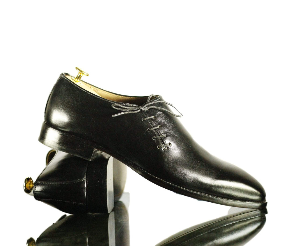 BESPOKESTORES dress shoes Oxford Black Side Lace Up Patent Leather Dress Shoes for Men's