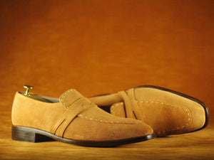 BESPOKESTORES dress shoes Square Toe Finest Beige suede Leather Men's Shoes