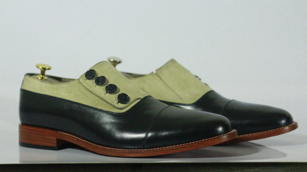 BESPOKESTORES dress shoes Stylish Beige Black Cap Toe Button Top Leather suede Shoes