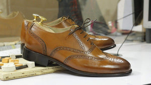BESPOKESTORES dress shoes Stylish Brown Leather Wing Tip Brogue Shoes for Men's