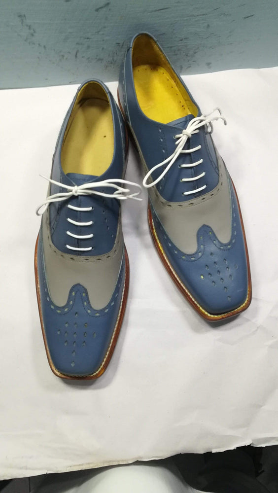 Two Tone Blue Gray Wing Tip Brogue Lace Up Leather Shoes For Men