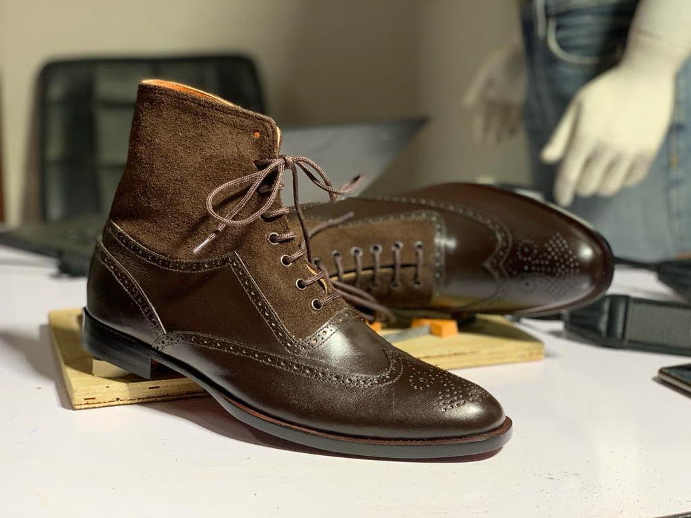 BESPOKESTORES Handmade, Dress Formal Boots Handmade Brown Brogue Ankle High Wing Tip Lace Up Leather & Suede Boots, Men's Oxford Boot