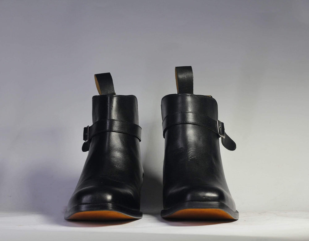 BESPOKESTORES Jodhpurs Bespoke Black Jodhpurs Leather Ankle Boots For Men's