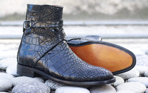 BESPOKESTORES Jodhpurs Boots Alligator Black Jodhpurs Ankle high Stylish Men's Leather Boot