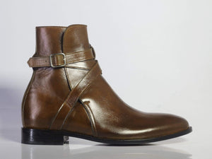 BESPOKESTORES Ankle Boots Copy of Bespoke Yellow & Burgundy Cap Toe Leather & Suede Boots For Men's