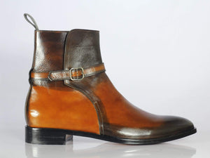 BESPOKESTORES Jodhpurs Boots Bespoke Brown & Tan Leather Ankle Jodhpurs Boots For Men's