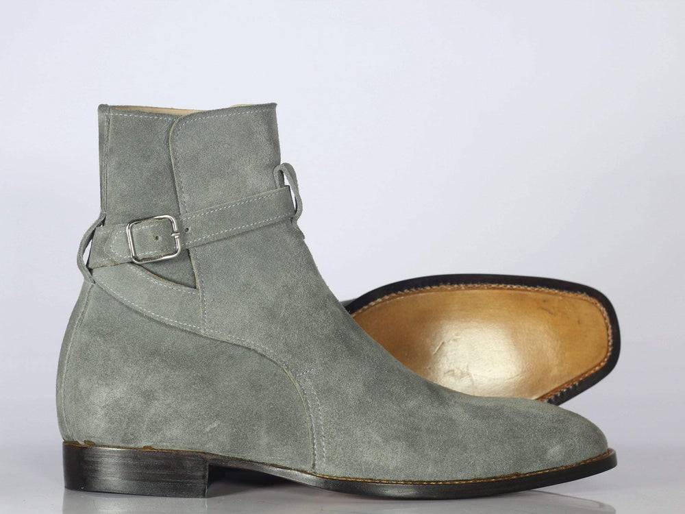 BESPOKESTORES Jodhpurs Boots Bespoke Gray Suede Ankle High Jodhpurs Boots For Men's